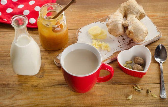 Зеленый чай с имбирем и молоком